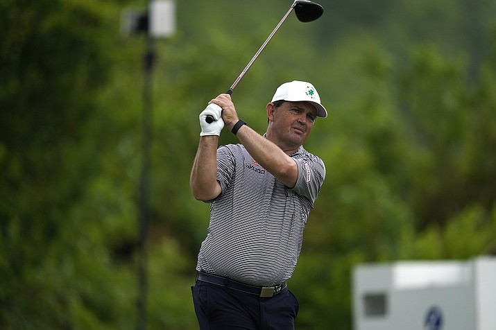 Greg Chalmers hits off the second tee during the third round of the PGA Zurich Classic golf tournament at TPC Louisiana in Avondale, La., Saturday, April 24, 2021. (Gerald Herbert/AP)