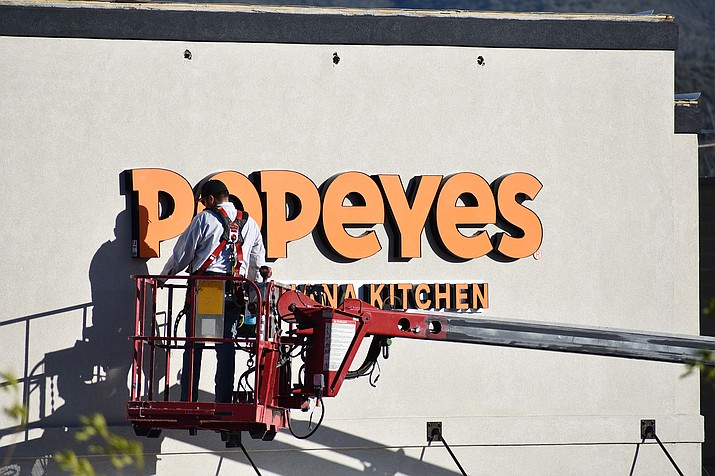 Signage went up this past week for the new Popeyes Louisiana Kitchen restaurant on the Home Depot side of the Prescott Valley Crossroads shopping center in the 5500 block of East Highway 69. (Richard Haddad/Courier)