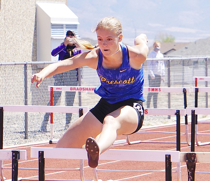 Prescott's Emma Lloyd took second overall in the 100-meter hurdles with a 15.54 time Saturday, April 24, 2021, in Prescott Valley. (Aaron Valdez/Courier)