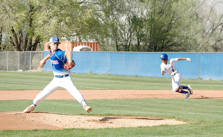 Cole Gillespie, shown pitching in a recent game, reinjured his knee on April 20 against Williams. Gillespie injured his knee while batting, head coach Will Davis explained Monday. Photo courtesy Doug Cook/The Daily Courier