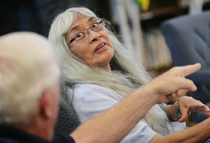 Wednesday, the Camp Verde School Board will consider lifting its mask mandate and temperature checks for the district's students, staff and visitors. Pictured, Camp Verde School Board Member Helen Freeman. VVN/Bill Helm