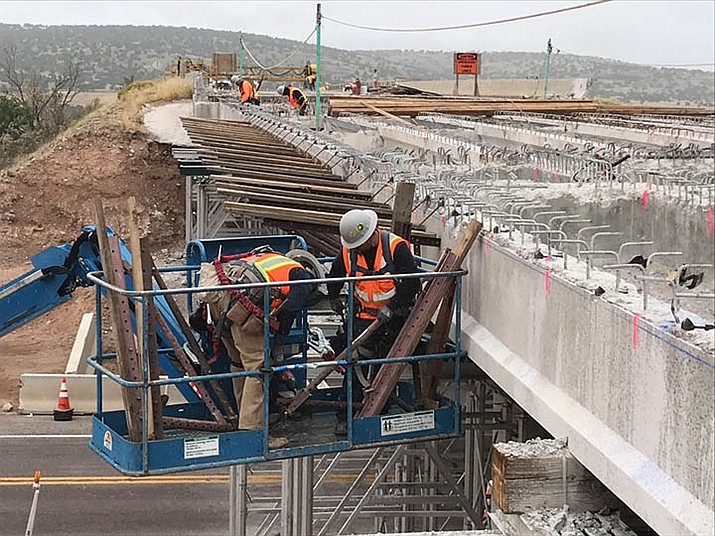ADOT employees replaced the decks of three bridges between I-40 exit 121 and the west side of Seligman in 2018. (photo/ADOT