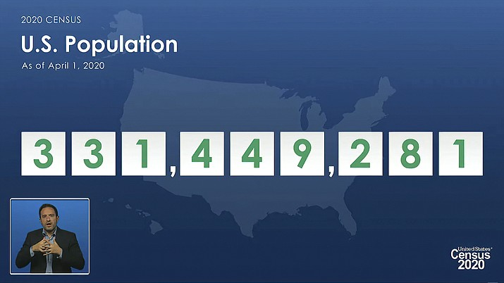 In this image from video provided by the U.S. Census Bureau, acting director of the U.S. Census Bureau Ron Jarmin speaks as a graphic showing the U.S. population as of April 1, 2020, is displayed during a virtual news conference Monday, April 26, 2021. (U.S. Census Bureau via AP)