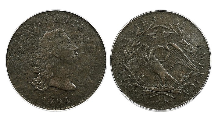 """This undated photo set provided by Heritage Auctions shows the front and back of a piece of copper that was struck by the U.S. Mint in Philadelphia in 1794 and was a prototype for the fledgling nation's money. The item, which is known as the """"No Stars Flowing Hair Dollar,"""" was owned by businessman and Texas Rangers co-chairman Bob Simpson and was auctioned off for $840,000 on Friday, April 23, 2021, considerably more than expected, an official said. (Emily Clements/Heritage Auctions via AP)"""