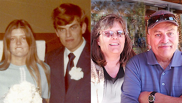 High school sweethearts Marilyn Gerdes and Bill Sieckmann were married April 30, 1971, in Flagstaff. Both grew up in Prescott, where Bill started work as a teenager at Ken Golding's Goodyear Tires and Marilyn worked at the YMCA as a preschool instructor. Bill served in the U.S. Army from 1972 to 1975 (deployed to Greece), resuming work at Goodyear then Advance Auto Tire Stores. He joined Mile High Budweiser Distributors, later Hensley Beverage Co. Marilyn worked for J&G Gun Sales, then was employed as a teacher for the Prescott Unified School District from 1990 to 2011. Chino Valley residents since 2004, the couple has one daughter, three granddaughters and one great-granddaughter. Family members hosted a celebration for the couple at Goldwater Lake in April. (Courtesy)