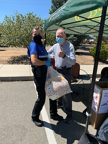 Yavapai College Police Department Safety Officer Kari Warne and longtime MATFORCE volunteer Wayne Sisson helped collect over 100 pounds of medications at the April 24 Dump the Drugs event. (Courtesy)