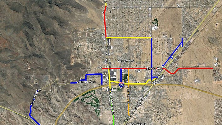 The city wrote in a news release that fog coating, striping and different roadway seals will be applied during different phases throughout the two-month period. (Photo courtesy of the City of Kingman)