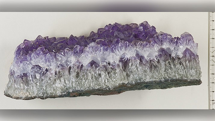 This specimen of amethyst, a form of quartz, is from Minas Gerais in Brazil. (Photo by Hannes Grobe, cc-by-sa-3.0, https://bit.ly/3t6nh4T)