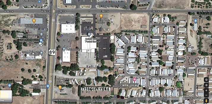 Pavement reconstruction will be done on East Road 2 North, between Highway 89 and Country West Road, for Country West Mobile Home Park. (Google)