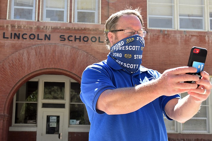 Prescott Unified School District Superintendent Joe Howard take a selfie in the courtyard at Lincoln Elementary on Aug. 6, 2020. Communication and transparency to the public when it comes to educational decision making at the district was the focus of an almost three-hour PUSD Governing Board retreat on Thursday, April 29, 2021. (Jesse Bertel/Courier, file)