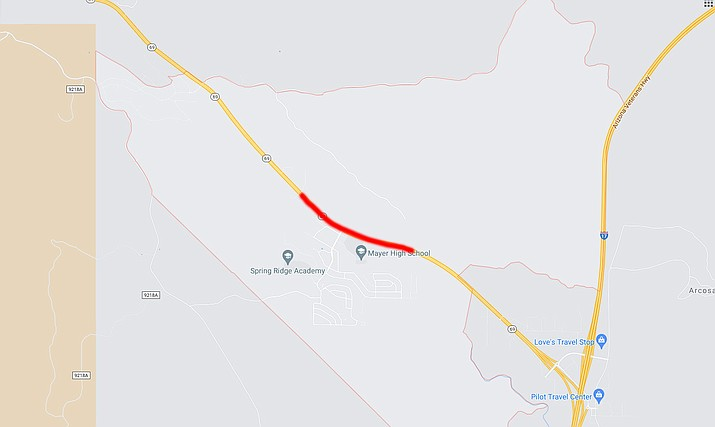 The red line indicates the area on Highway 69 in Mayer near Spring Road that ADOT plans to have daytime lane closures Wednesday, May 5, 2021. (ADOT/Courtesy)