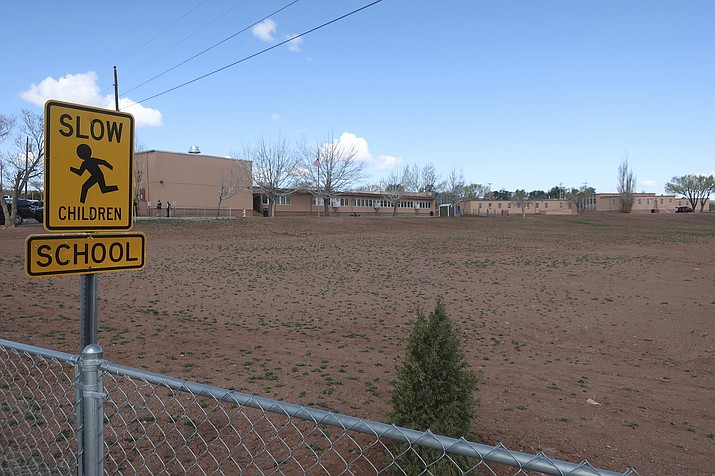 The Hunters Point Boarding School, a small grade school on the outskirts of the Navajo Nation capital, is seen in St. Michaels, Arizona, April 23. First Lady Jill Biden visited the school as part of a three-day trip. (AP Photo/Felicia Fonseca)