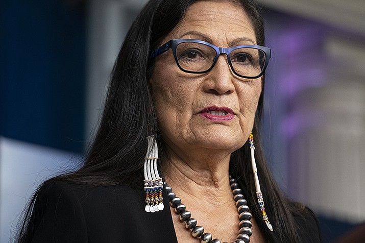 Haaland announced April 27 steps intended to speed up the transfer of private lands into federal trust for the benefit of Native American tribes. (AP Photo/Evan Vucci)