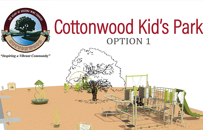 This is one of four playground design variations, options and playable structures. Courtesy of Cottonwood Parks and Recreation