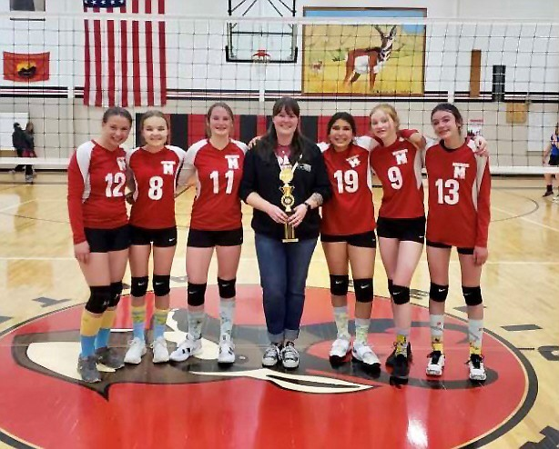 Maine Consolidated School won the A Team I-40 League Tournament April 23. The team includes: Kyleigh Amos, Samantha Stafford, Maddy Martinez, Stori Betts, Lilly Penttila and Miranda Chaney. The team is coached by Julie Hearn. (Submitted photo)