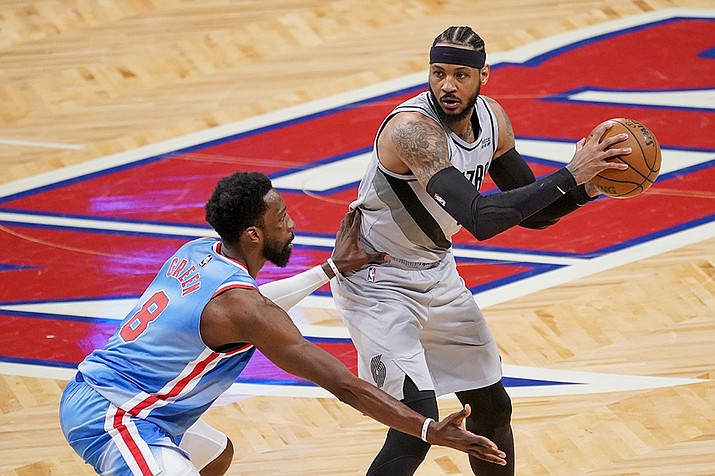 Brooklyn Nets forward Jeff Green (8) guards against Portland Trail Blazers forward Carmelo Anthony (00) during the second half of an NBA basketball game, Friday, April 30, 2021, in New York. (Mary Altaffer/AP)