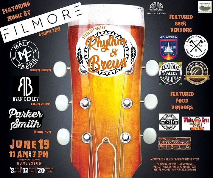 Rhythm & Brews will run from 10:30 a.m. to 7 p.m. Saturday, June 19, at Mountain Valley Park Amphitheater, 8600 E. Nace Lane in Prescott Valley. (Courtesy)