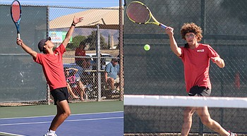 State Champs: Logan Rosenbach and Kohen Juelfs of Lee Williams win Division II state doubles championship photo