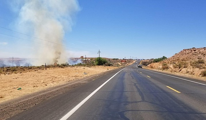 A brush fire has broken out, on US 160, east of MP423 on Moenkopi. (Photo/Navajo Police Department)