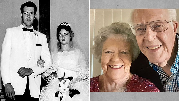 John and Carol Carpenter of Prescott Valley were married May 14, 1961, at St. Paul's Methodist Church in Phoenix; pictured then and now. (Courtesy)