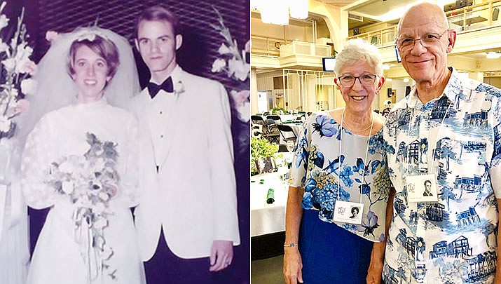 Dave and Terry Yocum on March 26, 2021, celebrated their 50th wedding anniversary; pictured then and now. (Courtesy)