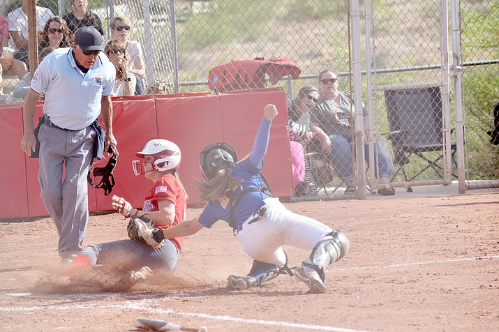 Mingus Union junior Mackenzie Figy is tagged out by Prescott catcher Ava Hlavacek on Wednesday. The Marauders lost a heartbreaker at Prescott on Monday, 8-7, before wrapping the regular season by beating Prescott in Cottonwood on Wednesday, 4-1, and will host a 10 a.m. playoff game Saturday. VVN/Jason W. Brooks