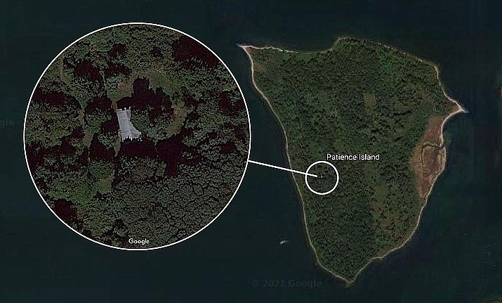 The only house on a small island in Rhode Island's Narragansett Bay — with the unique address of 0 Patience Way — has hit the market for an asking price of $399,900. (Google)