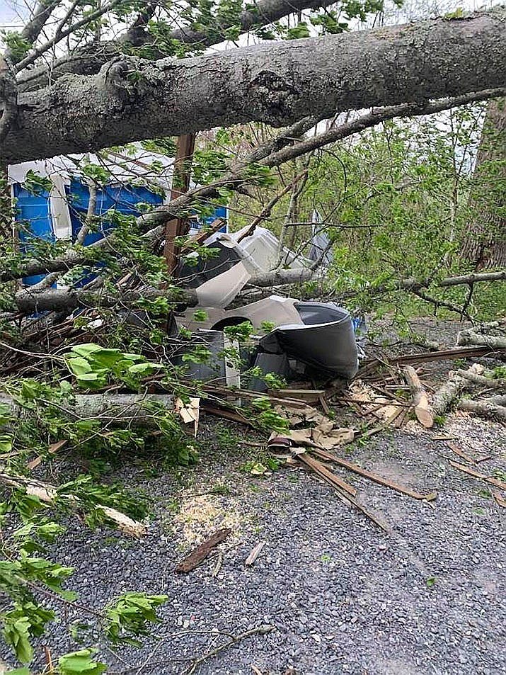 A fallen tree trapped a man inside a portable toilet at Gettysburg National Military Park. Fire crews rescued him by cutting away the tree with a chain saw then cutting the portable toilet open with another saw.(Source: Assistant Fire Chief Joe Robinson, Barlow Volunteer Fire Department via Facebook)