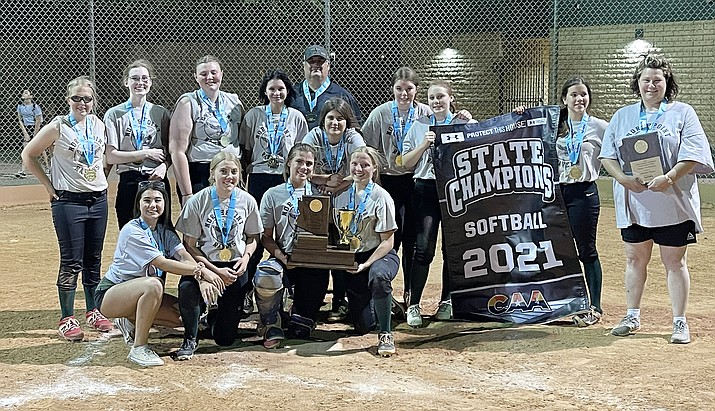 The Northpoint Expeditionary Learning Academy (Prescott) varsity softball team won the CAA state championship on Thursday, May 6, 2021. (Dale Poole/Courtesy)