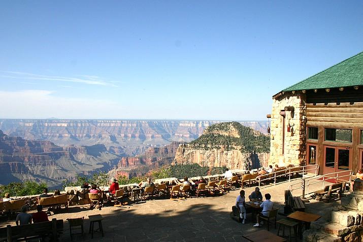 Guests visit at the Grand Canyon North Rim Lodge. The North Rim opened May15. (Photo/Darla Cook, NPS)