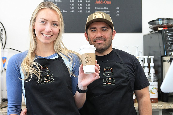Danielle and Amir Saya opened Leo's Cafe in downtown Williams May 1. (Loretta McKenney/WGCN)