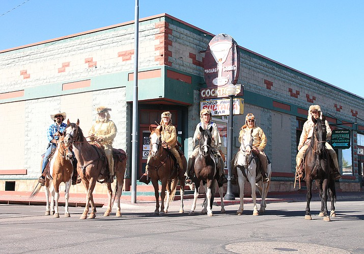 Six riders dressed mostly in buckskin depart Williams May 8 on the annual Bill Williams Mountain Man Rendezvous Ride. (Loretta McKenney/WGCN)