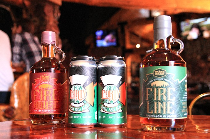 Twenty percent of proceeds from the sale of Fire House and Fire Line Whiskey will be given to Williams Volunteer Fire Dept. and Ponderosa Fire District. Brew Forty-Two, an Irish red ale, will benefit the Arizona Firefighter's Emerald Society. (Loretta McKenney/WGCN)