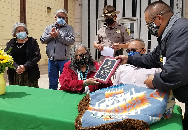 The Navajo Police Department honors Nora Mae Lee for her 41 years of service to the department after her retirement as a Police Identification Technician Dec. 31 (Submitted photo)