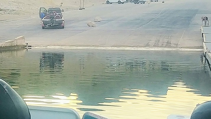 The low water level in Lake Mead can be seen at the boat launch at South Cove. (Photo by Don Martin/For the Miner)