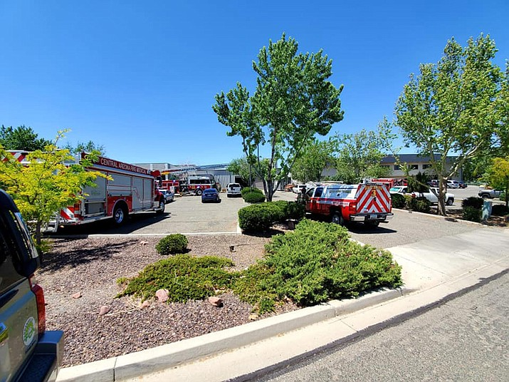 Fire units on the scene of a structure fire that was inside of large commercial building near the Prescott Regional Airport on Monday, May 10, 2021. The fire seemed to be caused by a dust removal/hopper system but was promptly extinguished after crews arrived. (CAFMA/Courtesy)