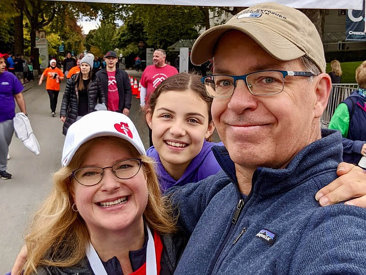 Stroke survivor Stephanie Gerding, left, with her husband, Patrick, and daughter, Madeline, in 2019. (Stephanie Gerding/Courtesy)