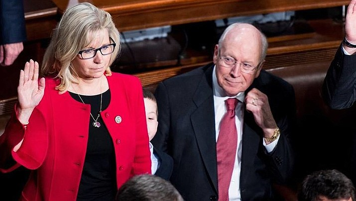 Republicans voted to demote Rep. Liz Cheney (R-Wyoming) from her leadership position in the U.S. House of Representatives on Wednesday, May 12. Cheney is shown taking the oath of office when first elected in 2017 while her father, former Vice President Dick Cheney, looks on. (Office of Rep. Liz Cheney/Public domain)