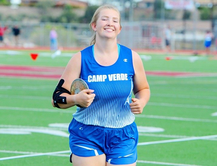 Senior Ashlee Bueler claimed Camp Verde's only individual championship over the weekend. She claimed top honors in the discus with a throw of 101-feet, 4-inches. VVN/Vyto Starinskas
