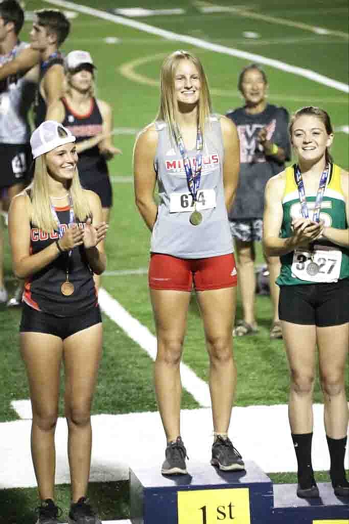 In addition to her state championship performance in the pole vault, Mingus Union junior Brooke Peterson scored additional team points for the Marauders with a seventh-place finish in the 100 hurdles with a 16.79-second clocking. Courtesy photo Sierra Tibbs