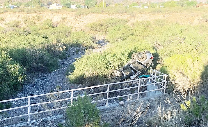 A single-vehicle rollover Sunday evening, near the Cement Plant Road and Clarkdale Parkway roundabout in Clarkdale, led to one person being flown to a hospital by helicopter. Courtesy of Verde Valley Fire District