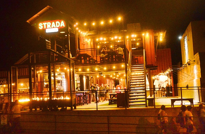 Eric and Michelle Jurisin's new Strada at Bocce lit up the end of Old Town on Saturday night. VVN/Vyto Starinskas