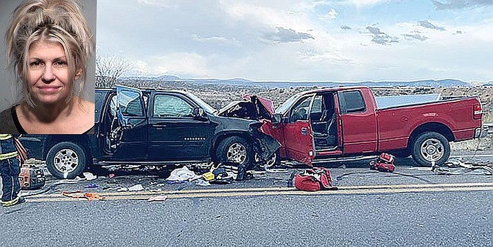 According to the Yavapai County Sheriff's Office, Jill Knox, 47, of Rimrock, was driving the Chevy Suburban on the left in this photo and was intoxicated in this February 2020 collision on Cornville Road. The wreck claimed the life to Knox's 5-year-old daughter. Knox is due back in court June 7. YCSO courtesy photo