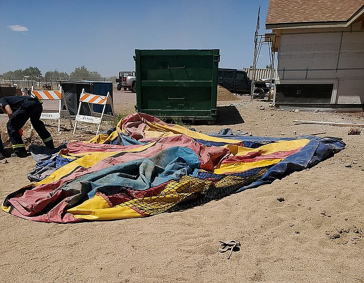 This deflated bounce house was blown away by a dust devil with two young girls inside on Sunday, May 16, 2021, in Paulden. The girls were seriously injured and airlifted to a hospital in Phoenix. (YCSO, Facebook/Courtesy)