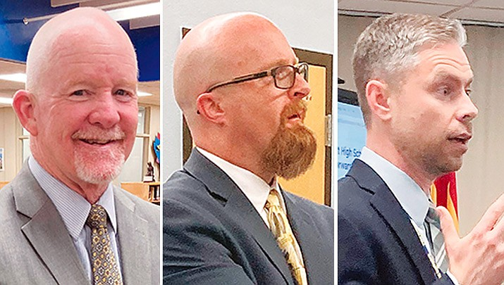"""Several attendees of the Wednesday, May 19, 2021, Prescott High School principal meet-and-greet session, favored Assistant Principal Adam Neely, right, over Steven """"Red"""" Morrow, left, of Tucson, and Noah Tonk of Denver. The district school board will make the final decision. (Nanci Hutson/Courier photos)"""