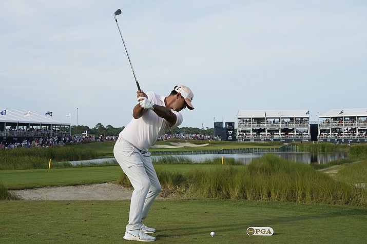 Brooks Koepka hits off the 18th tee during the third round at the PGA Championship golf tournament on the Ocean Course, Saturday, May 22, 2021, in Kiawah Island, S.C. (Matt York/AP)