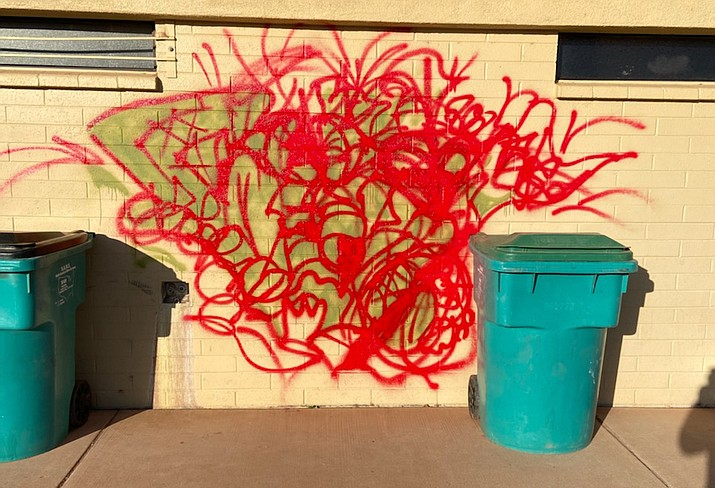 Cottonwood police are seeking any information the public has about graffiti spray-painted on various Riverfront Park equipment late Tuesday night or early Wednesday morning. Courtesy of Cottonwood Police Department