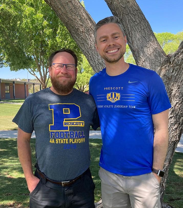 Adam Neely, Prescott High's new principal, right, stands with Prescott Unified School District Superintendent Joe Howard. (Nanci Hutson/Courier)