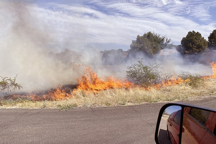 Firefighters kept a windblown fire at the old Beaver Creek Golf Course to five acres Saturday afternoon. Courtesy of Copper Canyon Fire