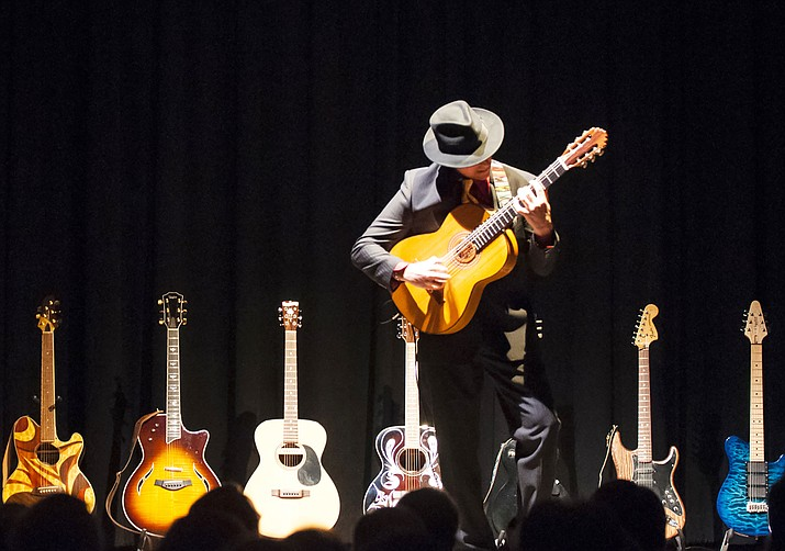 """Anthony Mazzella's """"Legends of Guitar"""" show is a dazzling spectacle featuring one of the most highly-skilled musical artists in the country channeling the raw power of living and deceased guitar legends with multiple instruments on stage."""